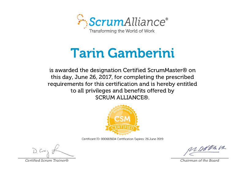 i have passed the certified scrummaster exam - tarin gamberini